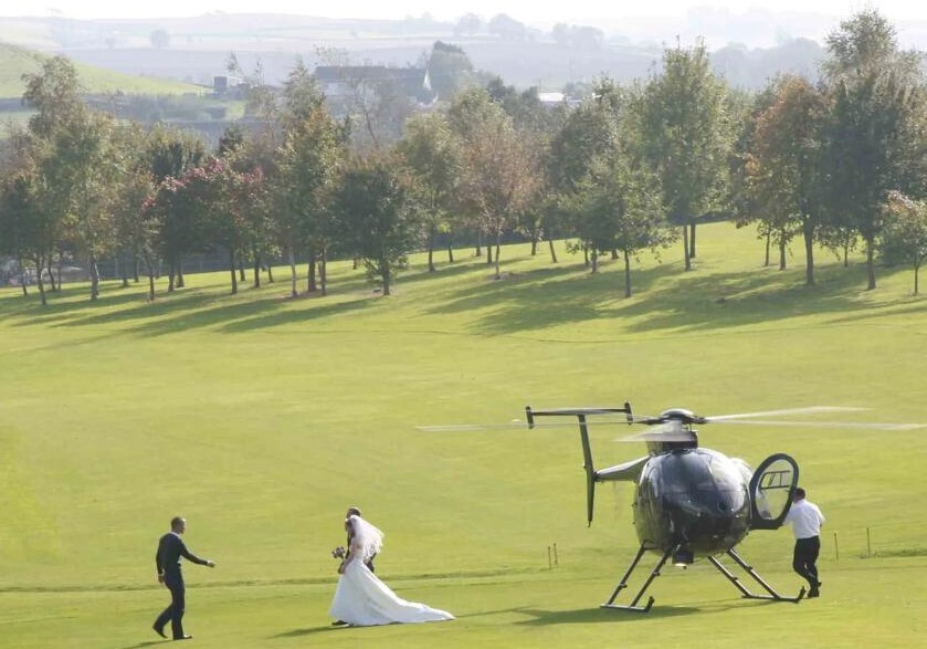 Wedding and helicopter